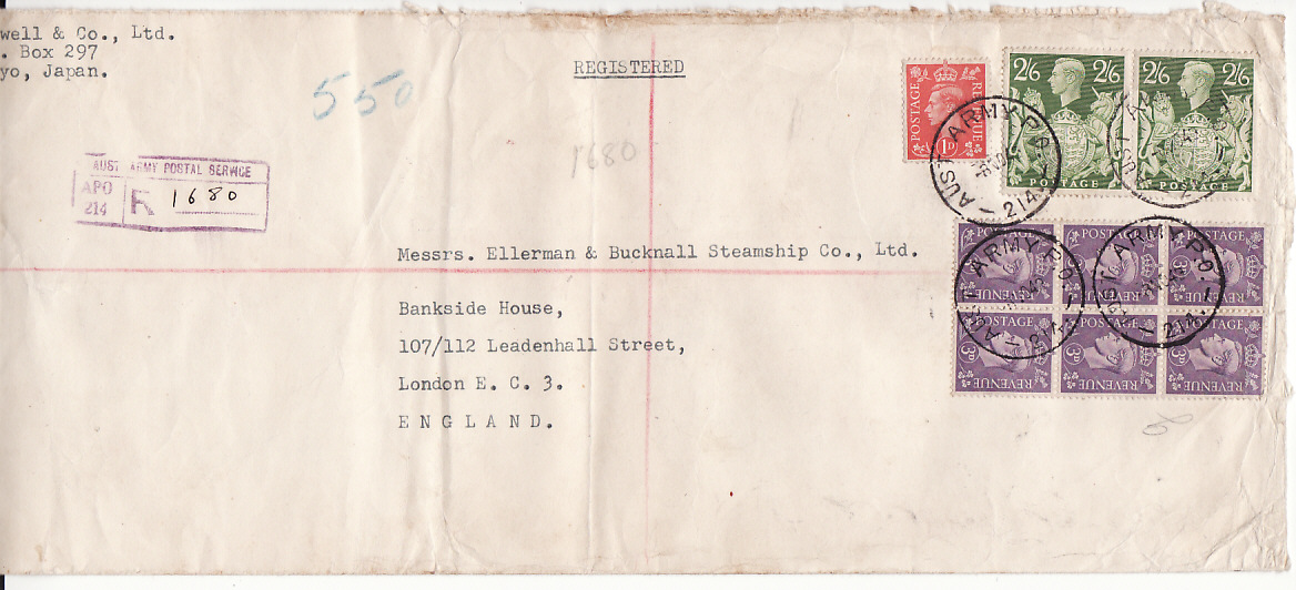 [17395]  JAPAN-GB..B.C.O.F. AUSTRALIAN POSTAL SERVICE REGISTERED..  1949 (Nov 8)