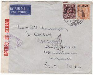 BURMA-INDIA...1942 CENSORED ..