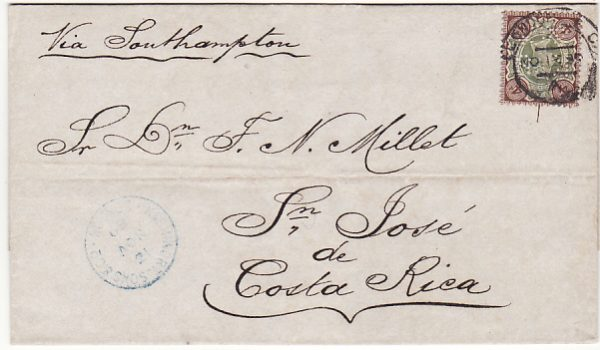 GB-COSTA RICA...1889 to SAN JOSE with PERFORATED INITIALS ..