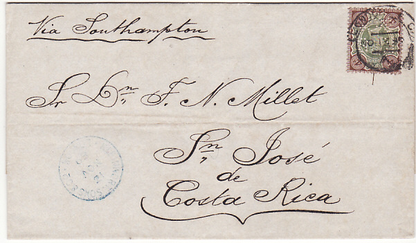[17411]  GB-COSTA RICA...1889 to SAN JOSE with PERFORATED INITIALS ..  1889 (Nov 13)