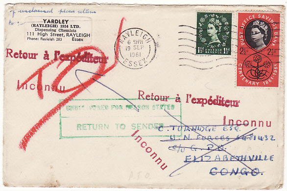 [17412]  GB-CONGO...1961 BRITISH FORCES RETURNED TO SENDER ..  1961 (Sep 19)