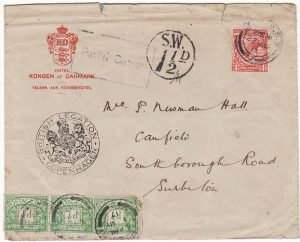DENMARK-GB..WW1 LEGATION MAIL- TAXED & CENSORED...