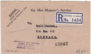 KENYA.. 1955 MAU MAU REBELLION COMMAND PAY OFFICE...