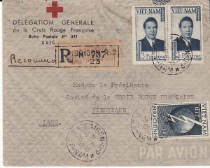 VIET NAM-LAOS...1952 INDEPENDENT STATE..RED CROSS DELEGATION REGISTERED to LAOS...