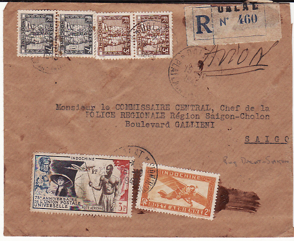 INDO CHINE....REGISTERED INTERNAL AIRMAIL to CHIEF OF POLICE