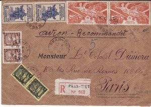 INDO-CHINE-FRANCE....REGISTERED AIRMAIL