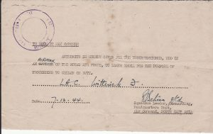 INDIA - CEYLON....1944 DOCUMENT FOR MILITARY LEAVE TRAVEL ...