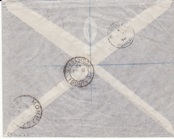 [17576]  B.O.F.I.C....ITALIAN SOMALILAND REGISTERED AIRMAIL to KENYA...   1947 (Dec 31)