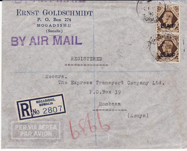 B.O.F.I.C....ITALIAN SOMALILAND REGISTERED AIRMAIL to KENYA...