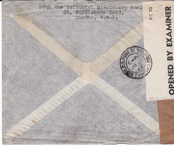 [17593]  GB - TRINIDAD....1940 TRANS ATLANTIC AIRMAIL...  1944 (Jun ??)