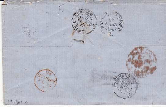 [17600]  INDIA - FRANCE...1862 PRE-STAMP INDIA UNPAID...  1862 (Feb 17)