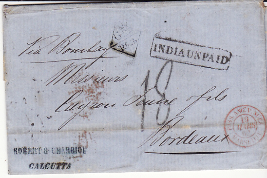 INDIA - FRANCE...1862 PRE-STAMP INDIA UNPAID...
