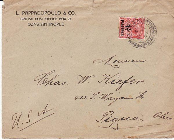 TURKEY - USA....1923 BRITISH LEVANT...
