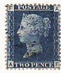 GB..2d BLUE Plate 13 (SG 47) Lightly cancelled