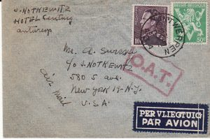 BELGIUM - USA...1945 AIR MAIL with O.A.T....