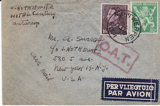 [17657]  BELGIUM - USA...1945 AIR MAIL with O.A.T....  1945 (Oct 29)