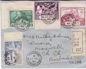 ST. VINCENT - BARBADOS...UPU REGISTERED INTER ISLAND MAIL ...