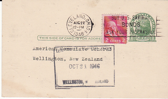 [17660]  USA - NEW ZEALAND...1946 CONSULAR MAIL..  1946 (Aug 27)