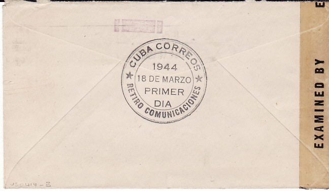 [17663]  CUBA - USA...1944 CENSORED MAIL from AMERICAN EMBASSY....  1944 (Mar 18)