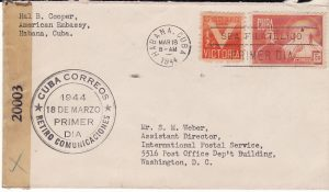 CUBA - USA...1944 CENSORED MAIL from AMERICAN EMBASSY....