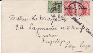 SAMOA...WW1 APIA to PAYMASTER US NAVY at PAGO PAGO....
