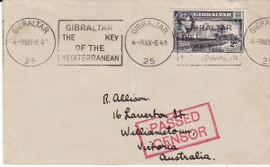 GIBRALTAR - AUSTRALIA ...WW2 to WILLIAMSTOWN W.A...