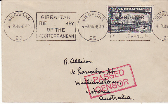 [17674]  GIBRALTAR - AUSTRALIA ...WW2 to WILLIAMSTOWN W.A...  1940 (Nov 6)