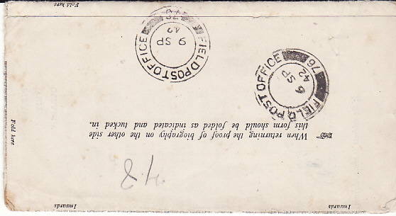 [17684]  GB ..WW2 WAR OFFICE & FORWARDED to EGYPT & NO TRACE...  1942 (May 27)