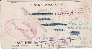GB ..WW2 WAR OFFICE & FORWARDED to EGYPT & NO TRACE...