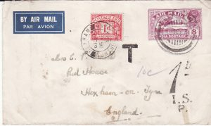 INDIA - GB..1932 UNDERPAID AIRMAIL & TAXED...