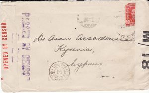 AUSTRALIA - CYPRUS ...WW2 TRIPLE CENSORED ...