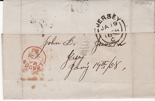 [13647]  GB - USA...CHANNEL ISLANDS 1858 PRE UPU ENTIRE TO USA...  1858 (Jan 19)