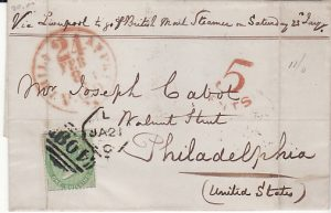 GB  - USA...CHANNEL ISLANDS 1858 PRE UPU ENTIRE TO USA...
