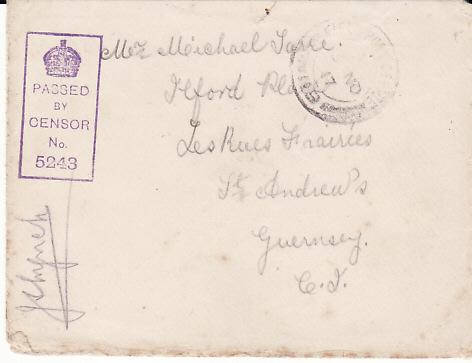 FRANCE  -GB....WW1 ROYAL GUERNSEY LIGHT INFANTRY to GUERNSEY...