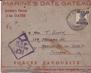INDIA - GB....SOLDIERS PARCEL 2 Ibs DATES....