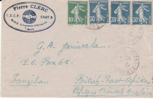 FRANCE - ZANZIBAR...1925 COMMERCIAL MAIL...