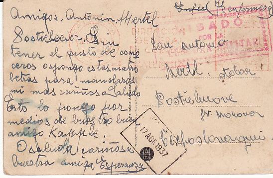 SPAIN - CZECHOSLOVAKIA..SPANISH CIVIL WAR INTERNATIONAL BRIGADE..