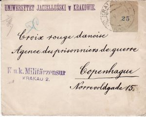 POLAND - DENMARK....1915 PROVISIONAL 25 LABEL to RED CROSS POW AGENCY...
