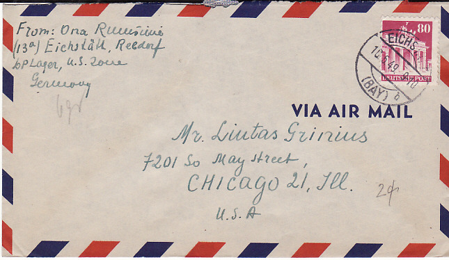 [13949]  GERMANY - USA....LITHUANIAN D.P. CAMP EICHSTATT REBDORF...  1949 (May 10)