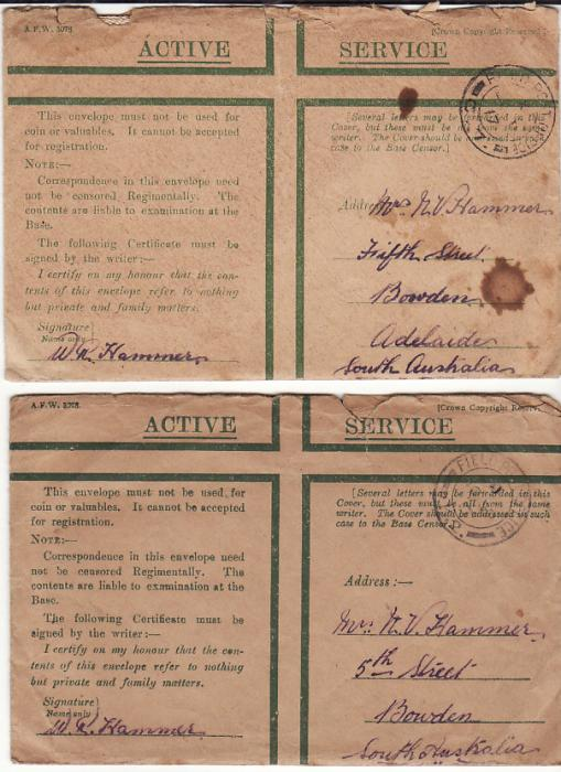 [14652]  FRANCE / BELGIUM - AUSTRALIA....WW1 A.I.F. FORCES WESTERN FRONT & with DEATH DETAILS...  1917 (Jun - Oct)