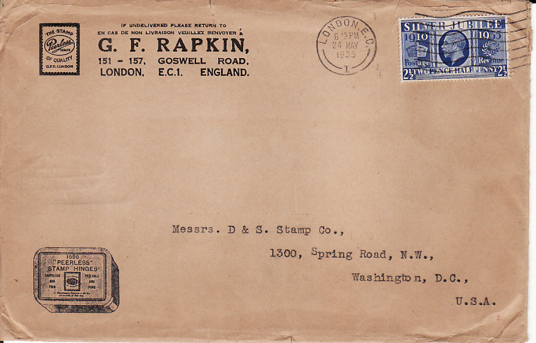 [17761]  GB - USA...1935 G.F. RAPKIN to D & S STAMP Co. With CONTENTS ...  1935 (May 28)