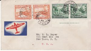 CYPRUS-USA...WW2 with BOMBER FUND PATRIOTIC LABEL...