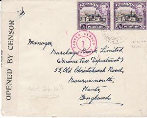 CYPRUS - GB....WW2 CENSORED POLIS to BOURNEMOUTH..