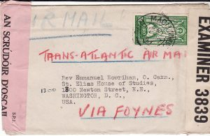 IRELAND - USA...DOUBLE CENORED AIRMAIL wirh SOLO 2/6 FRANKING...