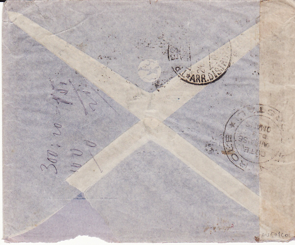 [13600]  FRENCH SOMALI COAST - TRIESTE....WW2 CENSORED AIRMAIL....   1940 (Feb 15)