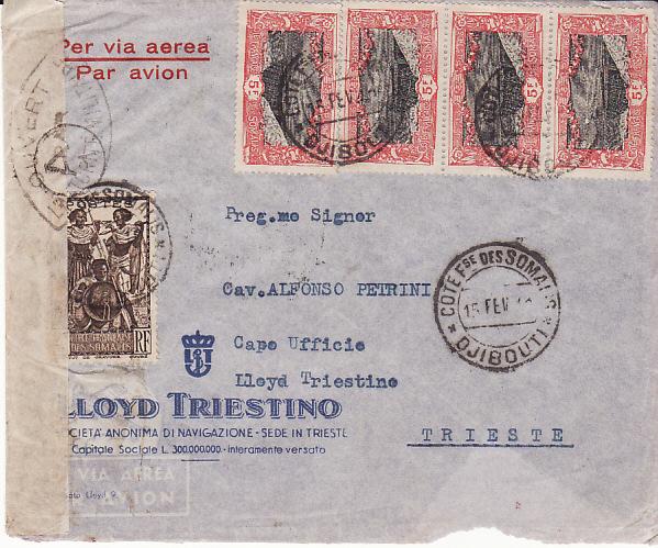 FRENCH SOMALI COAST - TRIESTE....WW2 CENSORED AIRMAIL....