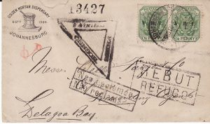 BOER WAR - MOZAMBIQUE...1900 TO WELLS FARGO FORWARDING AGENTS & RETURNED....