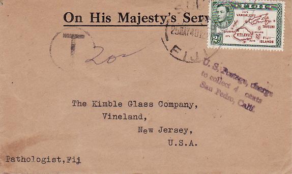 FIJI - USA...WW2 OHMS TAXED 4 CENTS...