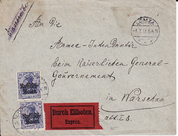 [17790]  POLAND...WW1 GERMAN OCCUPATION EXPRESS MAIL...  1917 (Jul 3)