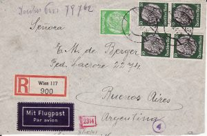 AUSTRIA - ARGENTINA...1941 REGISTERED TRANS ATLANTIC VIA LATI...
